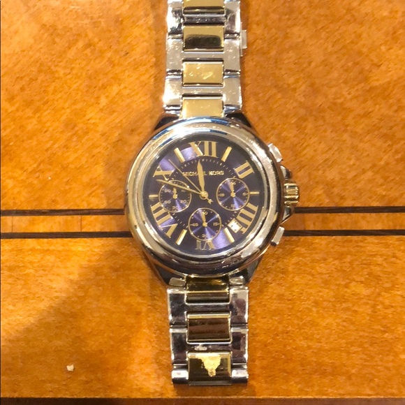 Michael Kors Accessories - Michael Kors two tone watch with blue face